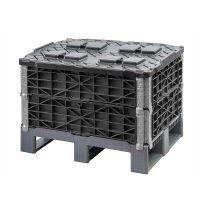 Składany pojemnik plastikowy 600x400x320mm z 2 dzielną pokrywą